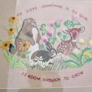 To Love Something VTG Crewel Embroidery Framed